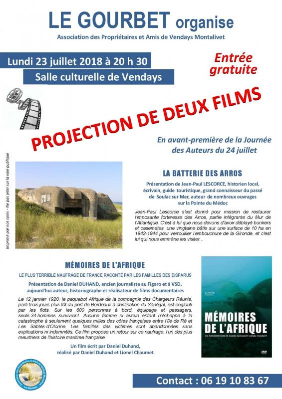 Affiche projection films 23 juill